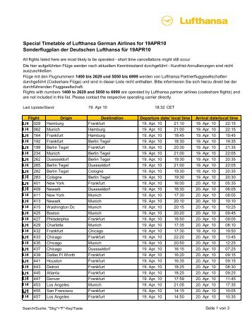 Special Timetable of Lufthansa German Airlines for 19APR10 - Flight