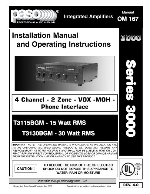 Manuals - Paso Sound Products