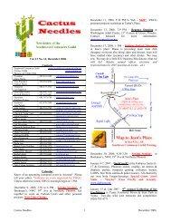 Cactus Needles 1 December 2006 Vol. 13 No. 12, December 2006 ...