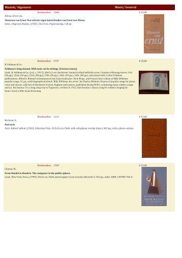Muziek/ Algemeen Music/ General - Antiquariaat Clio / Cliobook