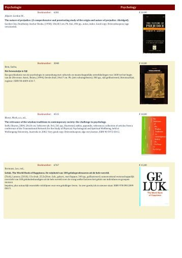 Psychologie Psychology - Antiquariaat Clio / Cliobook