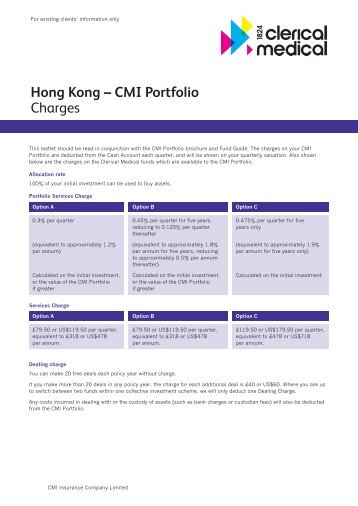 Hong Kong – CMI Portfolio Charges - Clerical Medical