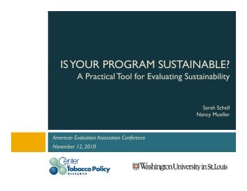 is your program sustainable? - Center for Tobacco Policy Research