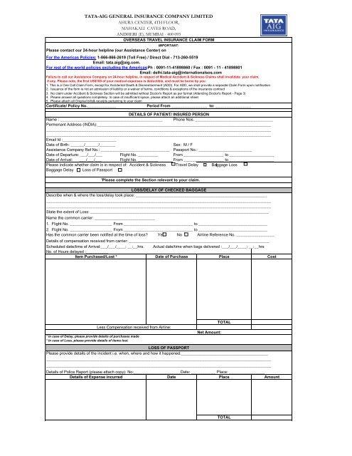 Overseas Travel Insurance Claim Form - Health Insurance India