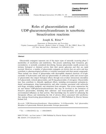 Roles of glucuronidation and UDP ... - School of Life Sciences
