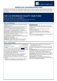 CMI US ENHANCED EQUITY SUB-FUND - Clerical Medical