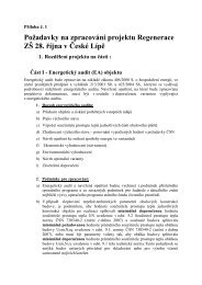 Příloha č. 1 - Požadavky na zpracování projektu ... - Město Česká Lípa