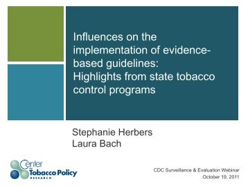 Influences on the implementation of evidence- based guidelines ...