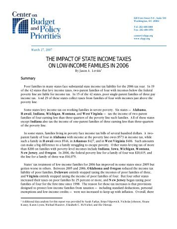 The Impact Of State Income Taxes On Low-Income ... - HartfordInfo.org