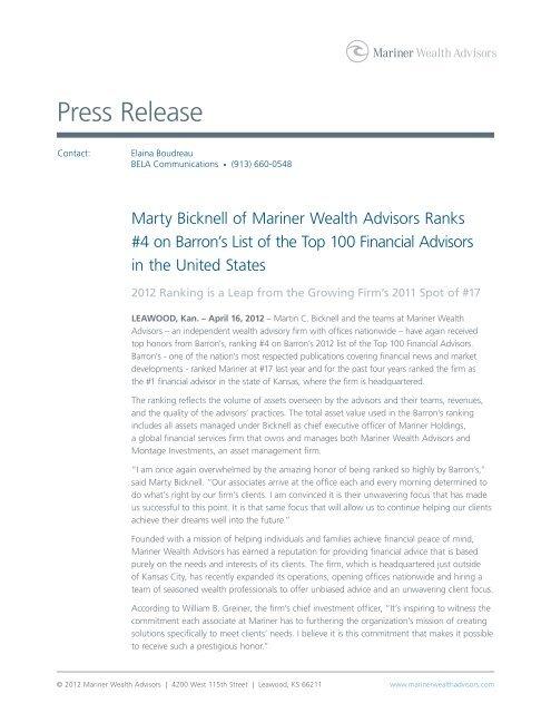 Marty Bicknell Ranks #4 on Barron's List of - Mariner Wealth