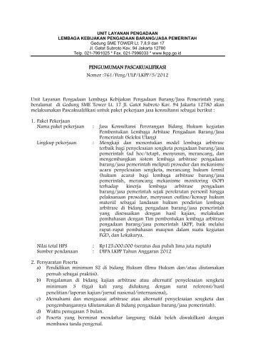 761/Peng/ULP/LKPP/5/2012 Unit Layanan Pengadaan Lembaga ...