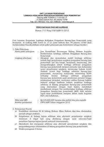 717/Peng/ULP/LKPP/5/2012 Unit Layanan Pengadaan Lembaga ...