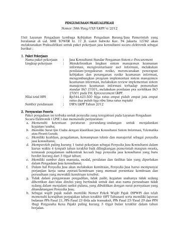588/Peng/ULP/LKPP/4/2012 Unit Layanan Pengadaan Lembaga ...