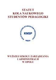 statut koła naukowego studentów pedagogiki - Koło Naukowe