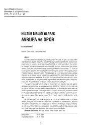 AVRUPA ve SPOR - Spor Bilimleri Dergisi