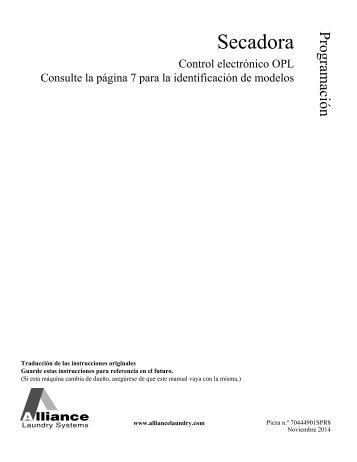 Programming for Tumbler OPL (Electronic) Control - UniMac