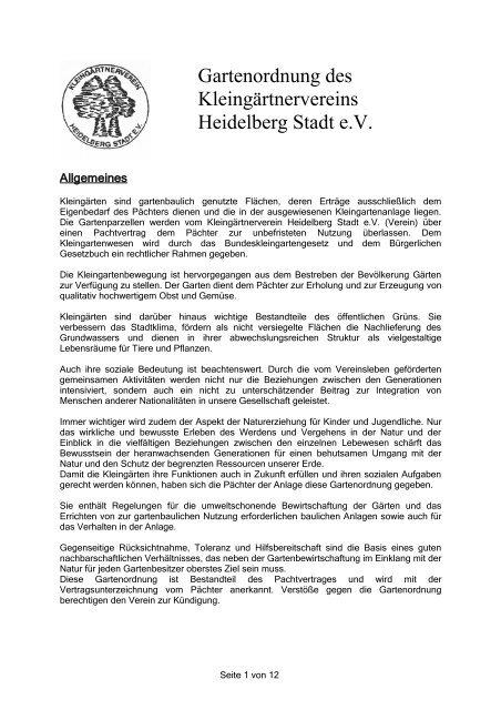 Gartenordnung Des Kleingartnervereins Kleingaertnerhd