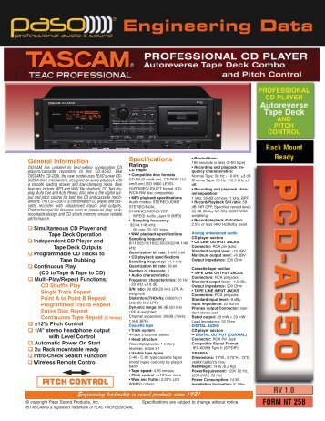 NT258 PASO TASCAM CD-A550 DATA_NT236 PCDP1440.qxd
