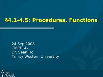 §4.1-4.5: Procedures, Functions