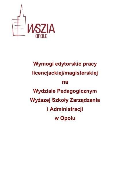 Wymogi Edytorskie Wyższa Szkoła Zarządzania I