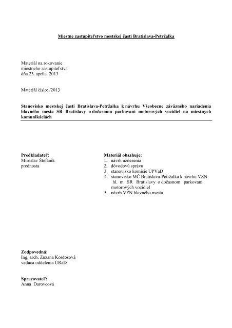 Stanovisko mestskej časti k návrh VZN hlavného mesta ... - Petržalka