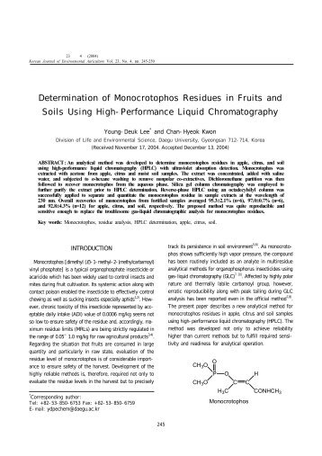 Determination of Monocrotophos Residues in Fruits and Soils Using ...