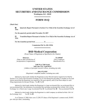 12-BSD Medical Form 10-Q 11-30-09.pdf - BSD Medical Corporation
