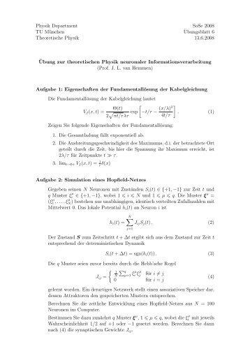 Physik Department SoSe 2008 TU München ¨Ubungsblatt 6 ...