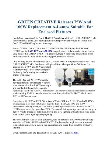 GREEN CREATIVE Releases 75W And 100W Replacement A-Lamps Suitable For Enclosed Fixtures
