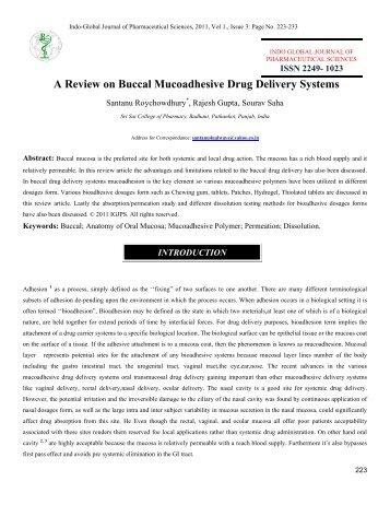 buccal drug delivery system pdf