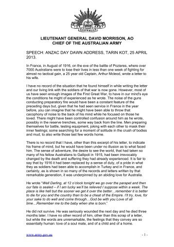 Download the speech. - Australian Army