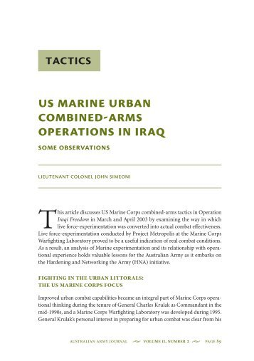 US Marine Urban Combined-arms Operations in Iraq - Australian Army