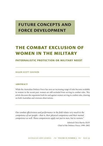 The combat exclusion of women in the military ... - Australian Army