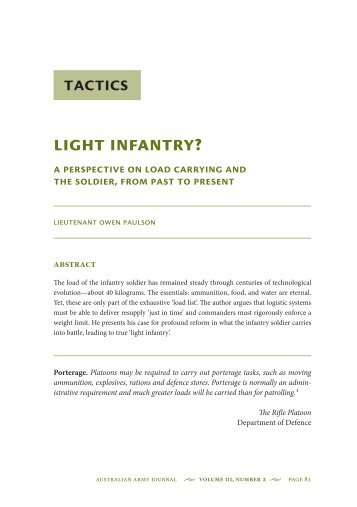 Light Infantry? A Perspective on Load Carrying ... - Australian Army