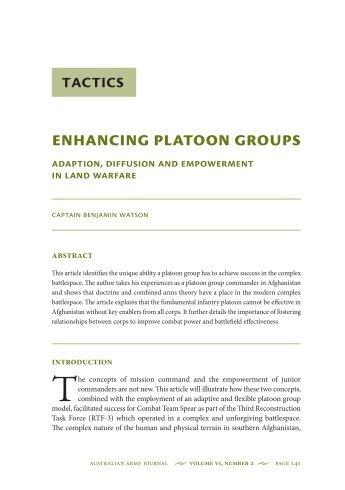 Enhancing Platoon Groups: Adaption, Diffusion ... - Australian Army