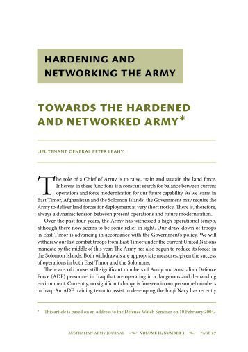Towards the Hardened and Networked Army - Australian Army
