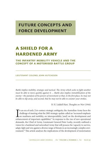 A Shield for a Hardened Army: The Infantry ... - Australian Army