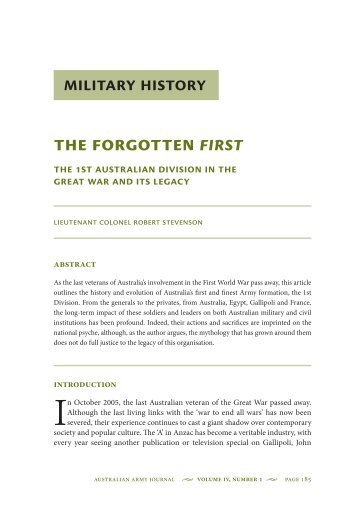 The Forgotten First: The 1st Australian Division in ... - Australian Army