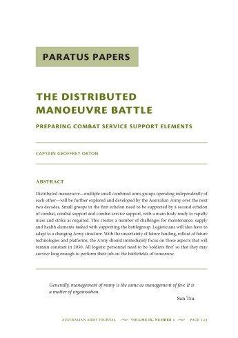 The Distributed Manoeuvre Battle: Preparing ... - Australian Army