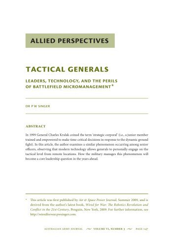 Tactical Generals: Leaders, Technology, and the ... - Australian Army