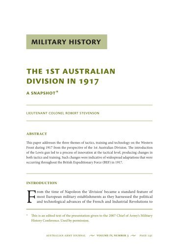 The 1st Australian Division in 1917: A snapshot - Australian Army