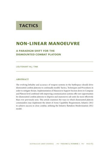 Non-Linear Manoeuvre: A Paradigm Shift for the ... - Australian Army
