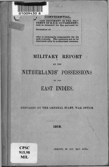 Military Report on the Netherlands Possessions in ... - Australian Army