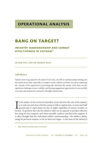 Infantry Marksmanship and Combat Effectiveness ... - Australian Army