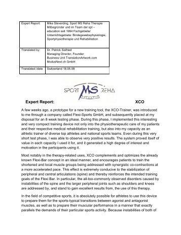 Expert Report: XCO - XCO TRAINER