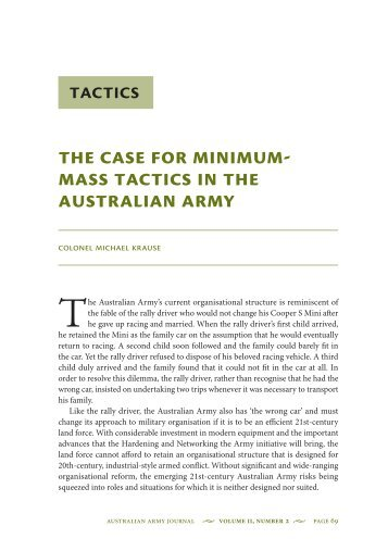 The Case for Minimum-mass Tactics in the Australian Army