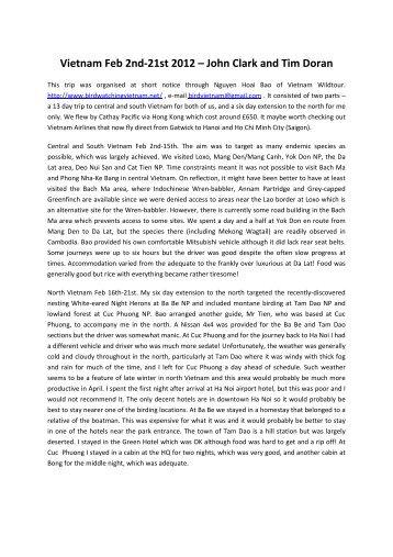Vietnam Feb 2nd-21st 2012 – John Clark and Tim Doran