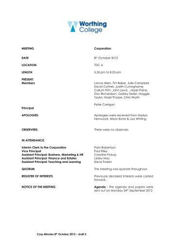 north nottinghamshire college corporation minutes of the audit
