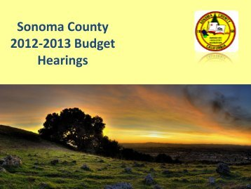 2012-2013 Budget Hearings - Sonoma County Board of Supervisors