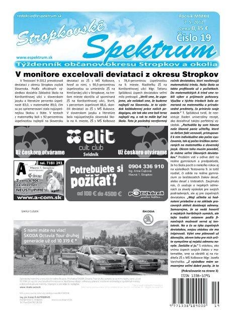 e8a3217c18188 Stropkovské Týždenník občanov okresu Stropkov a ... - Espektrum.sk